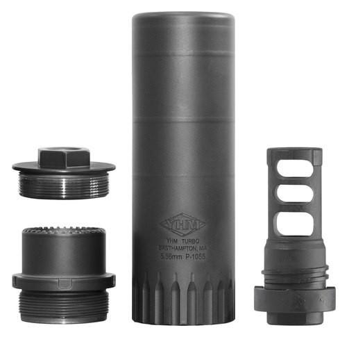 "Yankee Hill Machine Co Turbo K Suppressor, 5.56MM, Rifle Suppressor, 4.9"" When in Direct Thread Configuration, (5.5"" When Using QD Adapter), Black, Includes QD Muzzle Brake Mount 1/2X28"
