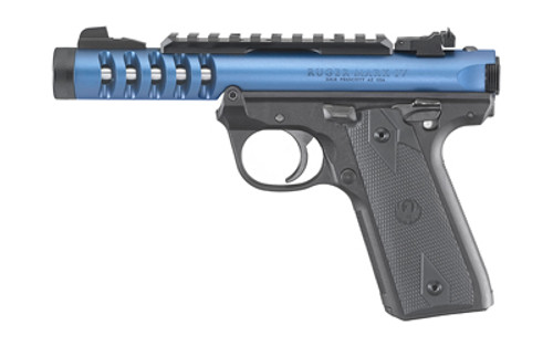 "Ruger, Mark IV Lite, 22/45 22LR, 4.4"" Threaded Barrel, Polymer Frame, Blue Anodized Finish, Checkered Grips, Adjustable Rear Sight, 10Rd"