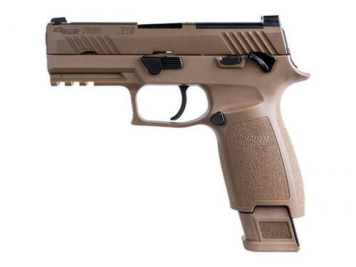 "Sig P320 M18, Striker Fired, 9mm, 3.9"" Barrel, Polymer Frame, Coyote Finish, DP Pro Plate, Manual Safety, Night Sights, 1-17Rd Magazine & 2-21Rd Magazines"