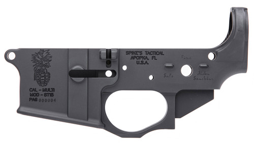 Spikes Pineapple Grenade Stripped Lower, Multi-Cal, Black Hardcoat Anodized