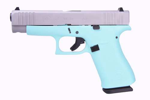 "Glock 48 9mm, 4"" Barrel, Fixed Sights, Robin Egg Blue, Silver nPVD Slide, 2x 10rd"