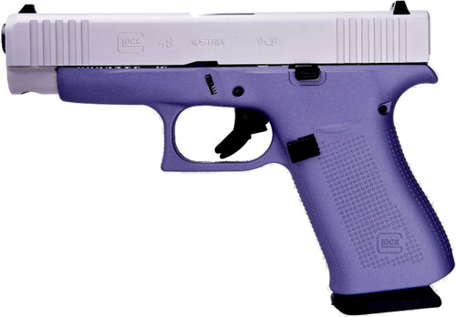 "Glock 48 9mm, 4"" Barrel, Fixed Sights, Lavender, Silver nPVD Slide, 2x 10rd"
