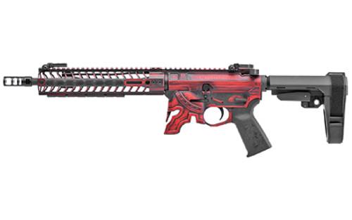 "Spikes Spartan AR-15 Pistol 5.56/.223, 11.5"" Barrel, M-Lok, SBA3 Brace, Red/Black"