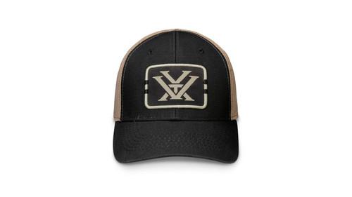 Vortex Boxed Logo Trucker Cap, Adjustable, Black/Khaki
