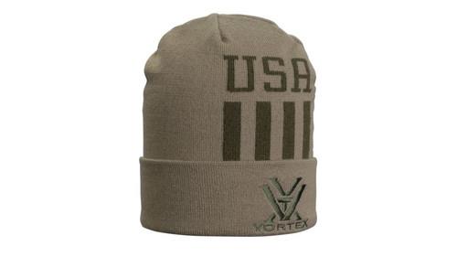 Vortex USA Knit Beanie, Olive/Tan