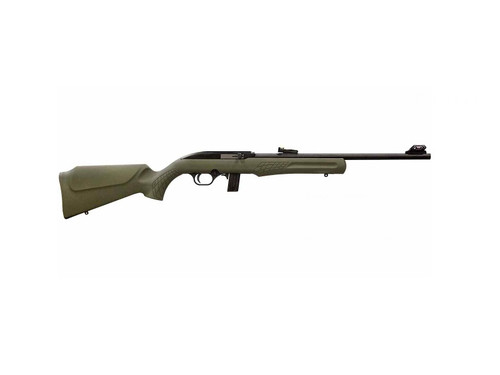 "Rossi, RS22, Semi-automatic Rifle, 22 LR, 18"" Barrel, Olive Drab Green Finish, Synthetic Stock, 10Rd, Adjustable Fiber Optic Sights"