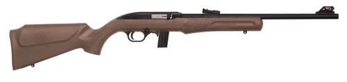 "Rossi RS22 22 LR, 18"" Barrel, Brown, Synthetic Stock, 10Rd, Adjustable Sights"