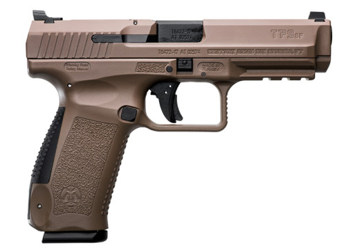 "Canik TP9SF 9mm, 4.46"" Barrel, Flat Dark Earth, Cerakote, Black, 18rd"