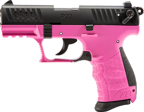"""Walther, P22Q, Semi-automatic, Double Action, Compact, 22 LR, 3.4"""" Barrel, Polymer Frame, Hot Pink Finish, 10Rd 2 Magazines, 3 Dot Polymer Sights"""