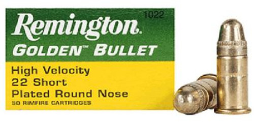 Remington Golden .22 Short High Velocity 29gr, Plated Lead Round Nose, 50rd Box