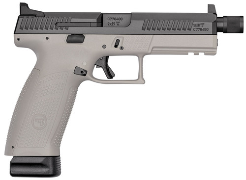"CZ P-10 F 9mm, 4.5"" Threaded Barrel, Urban Gray, Metal High NS, 21rd"