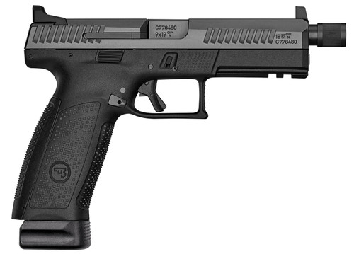 "CZ P-10 F 9mm, 4.5"" Threaded Barrel, Tritium Front/Serrated Combat Rear, Black, 21rd"