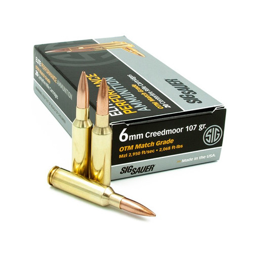 Sig Elite Match Grade, 6MM Creedmoor, 107gr, Open Tip Match, 20rd Box