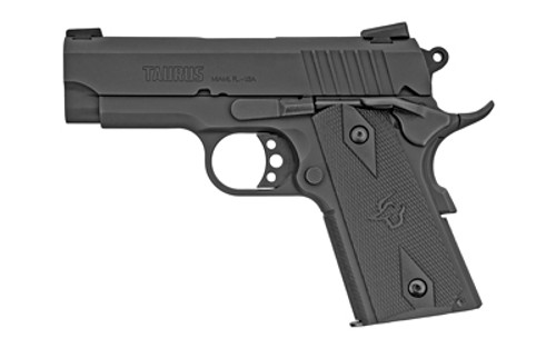"""Taurus, PT1911, Officer, 3.5"""" Barrel, Steel Frame, Blue Finish, Rubber Grips, Heinie Sights, with Rail, 8Rd, 2 Magazines"""