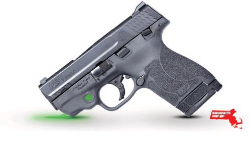 """Smith & Wesson M&P Shield M2.0 9mm, *MA*, 3.1"""" Barrel, Crimson Trace Green Laser, Black, 7rd/8rd"""
