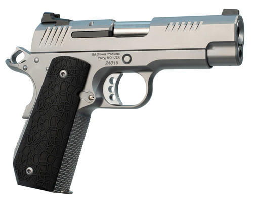 """Ed Brown Kobra Carry, Semi-automatic, 1911, Commander, 45ACP, 4.25"""" Barrel, Bobtail Frame, G10 Grips, Black, Thumb Safety, Black Fixed Rear Sight, Orange HD XR Front Sight, Recessed Slide Stop, 7Rd, 2 Magazines"""