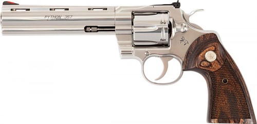"Colt Python 357 Mag, 6"" Barrel, Stainless Finish & Frame, Walnut Grips Red Ramp Front/Adjustable Rear, 6rd"