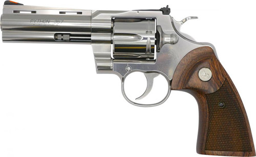 "Colt Python 357 Magnum, 4.25"" Barrel, Stainless Finish & Frame, Walnut Grips Red Ramp Front/Adjustable Rear 6rd"