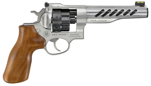 "Ruger Super GP100 Full Size 9mm, 6"" Barrel, Stainless Steel, Hogue Wood Grips, 3 Moon Clips, Fiber Optic Front Sight, Adj Rear Sight, 8rd"
