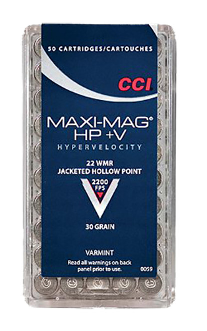 CCI Varmint Maxi Mag HP +V .22 Win Mag 30gr, Jacketed Hollow Point, 50rd/Box, 40 Box/Case