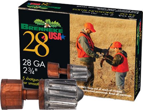 "Brenneke 28 Ga, 2.75"", 5/8oz, Slug, 5rd/Box"