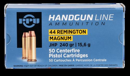 PPU Handgun 44 Rem Mag 240gr, Jacketed Hollow Point, 50rd Box