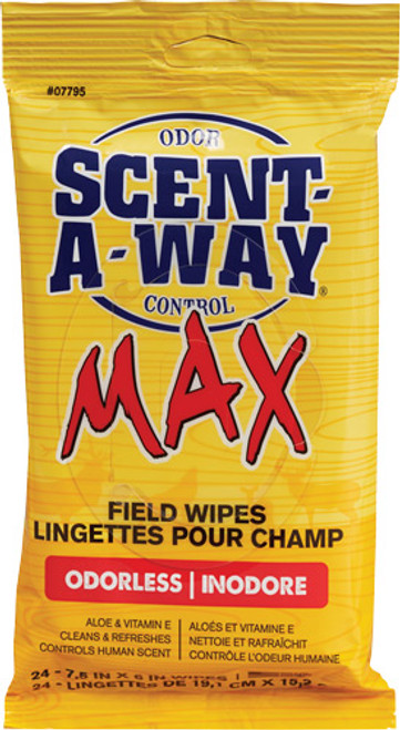 Hunters Specialties Scent-A-Way Max Field Wipes Odor Eliminator Odorless 24 Per Pack