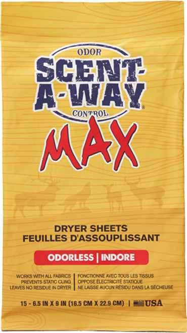 Hunters Specialties Scent-A-Way Max Dryer Sheets Odorless 15 Per Pack