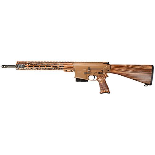 "Windham 308WIN/762NATO, 18"" Fluted Medium Profile Barrel, 1:10 Twist, A2 Flash Suppressor, Cerakote Finish, Brown Color, Fixed A2 Stock, STARK Pistol Grip, 15 M-Lok Handguard, Wood Grain Hydrodipped Pattern"