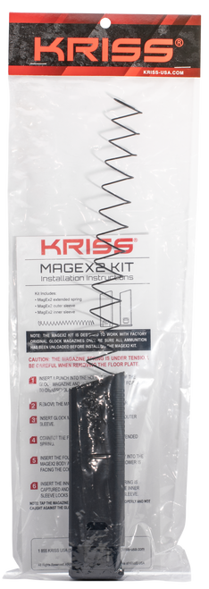 Kriss Mag-Ex2 Mag Extension Kit Glock G17 9mm, Metal/Polymer, Black, 40rd