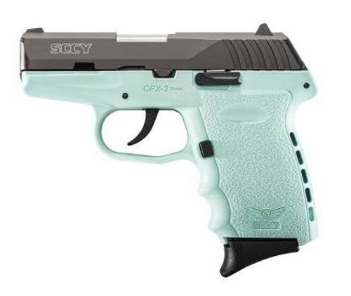 "SCCY CPX-2 Double 9mm 3.1"" Barrel, Robin Egg Blue Polymer Grip, 10rd"