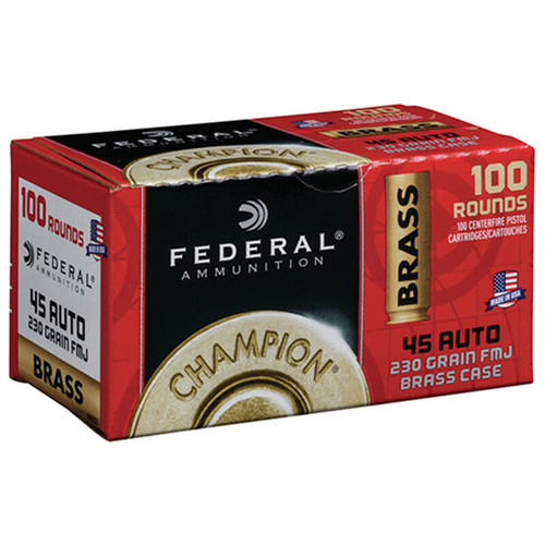 Federal Brass Ammo 45 ACP 230gr, Full Metal Jacked, 100rd/Box