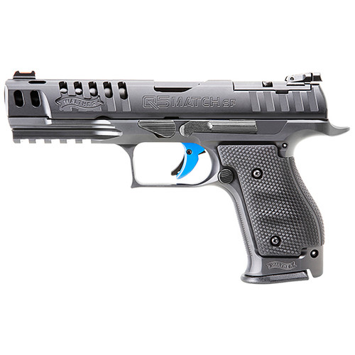"Walther PPQ Q5 Match Striker Fired 9mm, 5"" Barrel, Black Tenifer, Fiber Optic Front, Adj Rear, Optics Ready, Mounting Plates Incl- Trijicon, Leupold, Docter, 3x15rd Mags"