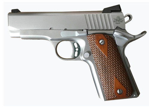 "Rock Island ECS 1911, Compact, 45ACP, 3.63"" Barrel, Steel Frame, Stainless Finish, Wood Grips, Fixed Sights, 7Rd, 1 Magazine"