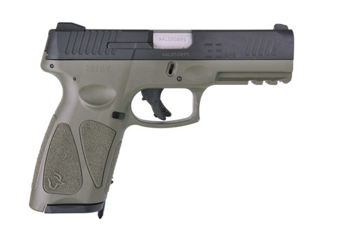 "Taurus G3 Full Size, 9mm, 4"" Barrel, Polymer Frame, Black/OD Green, 2 Magazines, 1-15Rd & 1-17Rd"