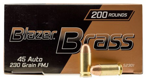 CCI Blazer Brass Ammo Value Pack 45 ACP 230gr, Full Metal Jacket, 200rd/Box