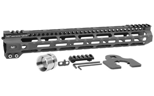 "Midwest Ultra Lightweight M-Lok Handguard, Fits AR Rifles, 14"" Free Float Handguard, Wrench And Titanium Hardwareluded, 5-Slot Polymer M-Lok Railluded, Black"