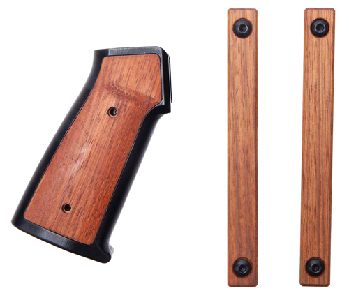 Sharps Bros. Aluminum/Wood AR Grip, Two M-Lok Hand Guard Panels Hardware, Black, Brazilian Cherry, Wrench