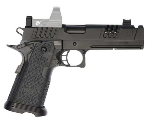 "Staccato XC 9mm, 5"" Island Compensated Barrel, Tactical DUO Sights, Black DLC, 18/21rd"