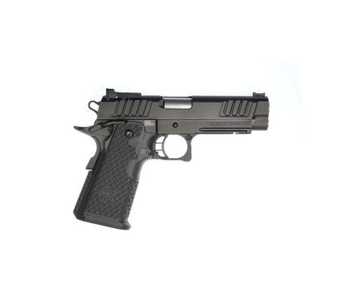 "STI Staccato P 9mm, 4.4"" Bull Barrel, Fiber/Adj. Tactical Sights, DLC, 17/20rd"
