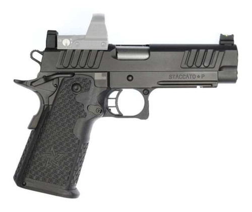 """Staccato P DUO 9mm, 4.4"""" Bull Barrel, Tactical DUO Sights, Black DLC, 17/20rd"""