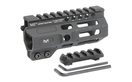 "Midwest Combat Rail, Handguard, 4.5"" Length, M-Lok, Black Anodized Finish,ludes 5-Slot Polymer Rail Section, Barrel Nut And Wrench"