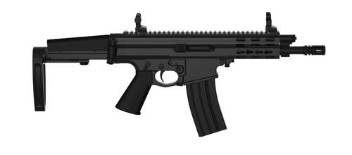 """Robinson Arms XCR-L Pistol 7.62x39 7"""" Barrel Keymod Rail, Black Finish Tailhook Brace"""
