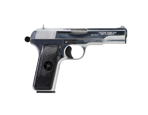 "Zastava M70AA Tokarev Pistol (Soviet TT Type)  7.62x25 4.5"" Barrel, Chromed Finish, 9rd Mag"