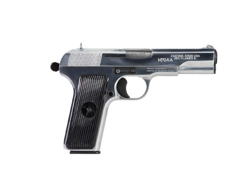 "Zastava M70AA Tokarev, Soviet TT Type 9mm,  4.5"" Barrel, Chromed Finish, 8rd Mag"