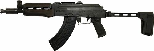 "Zastava ZPAP92 AK-47 Pistol 7.62x39mm 10"" Barrel, Booster, Dark Wood, Top Rail, SB Tactical FS1913 Folding Brace, 30rd Mag"