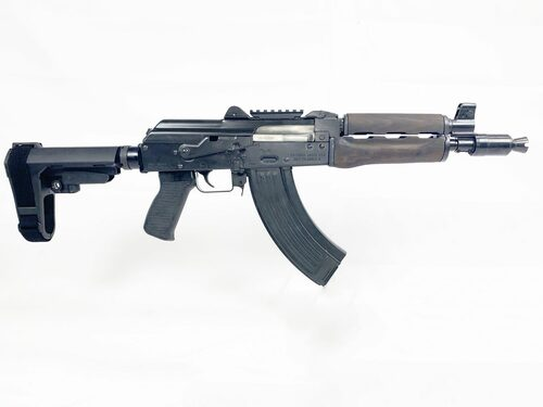 "Zastava ZPAP92 With Booster AK-47 Pistol  7.62 x 39 10"" Barrel Dark Wood, Top Rail, SB3 Brace, 30rd Mag"