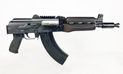 "Zastava ZPAP92 With Booster AK-47 Pistol  7.62 x 39 10"" Barrel Dark Wood, Top Rail, Rear Rail 30rd Mag"