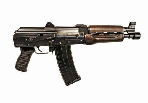 "Zastava ZPAP85 AK Pistol  5.56 NATO/223, 10"" Chrome Lined Barrel, Dark Wood, Buldged Trunnion 30rd Mag1.5 mm receiver , chrome lined barrel"