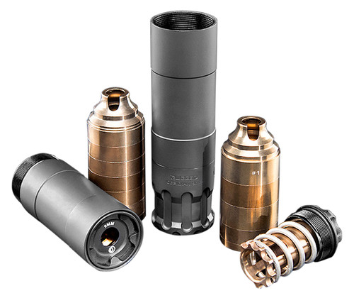Rugged Suppressors Obsidian 9 with ADAPT Modular Technology, Pistol Suppressor, 9mm, Includes 1/2X28 Piston, Aluminium Tube, 17-4 PH Baffles, Black Cerakote Finish